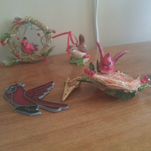 Vintage Christmas bird ornaments